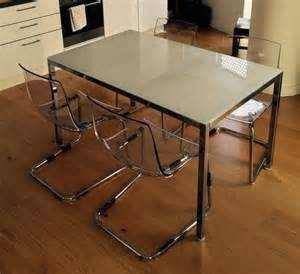 ikea white glass table and chairs in stratford london