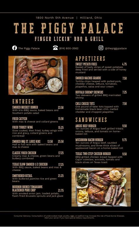 southern platter bbq menu design templates  musthavemenus
