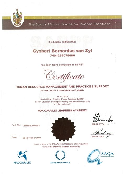 certificate human resource management  practices support