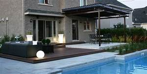 amenagement contemporain piscine creusee et spa With amenagement paysager avec piscine creusee 11 amenagement spa jardin recherche google terrasse