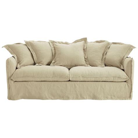 lino pour chambre canapé convertible 3 4 places en lavé beige ficelle