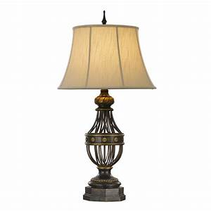 Traditional Antique Bronze Table Lamp with Lighter Brushed ...