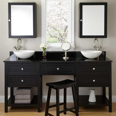 Bathroom Vanities With Makeup Vanity by 72 Quot Taren Black Vessel Sink Vanity With Makeup Area