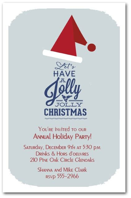 jolly jolly santa hat christmas invitations holiday