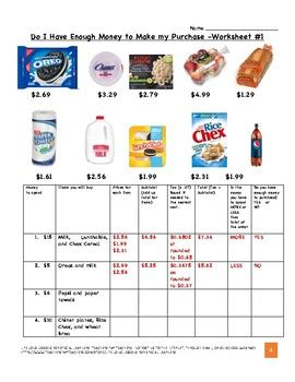 grocery store enough money worksheets everyday life skills tpt