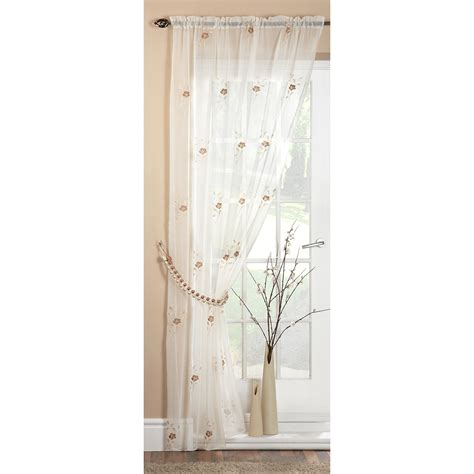 pearl voile panel floral embroidered ready made sheer