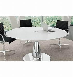 Table Ronde En Chene : table de r union ronde metar en ch ne laqu blanc ~ Teatrodelosmanantiales.com Idées de Décoration