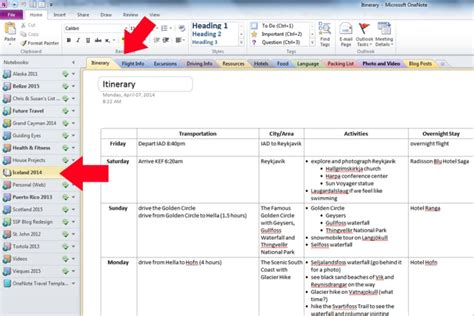 onenote section template how to use onenote for travel planning 187 susan photographer traveler adventurer