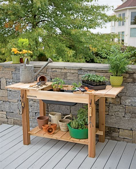 potting bench cedar potting table  soil sink