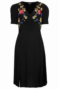 Topshop Embroidered Midi Tea Dress in Black | Lyst