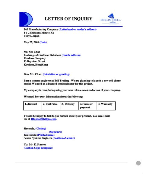 sample business enquiry letters word