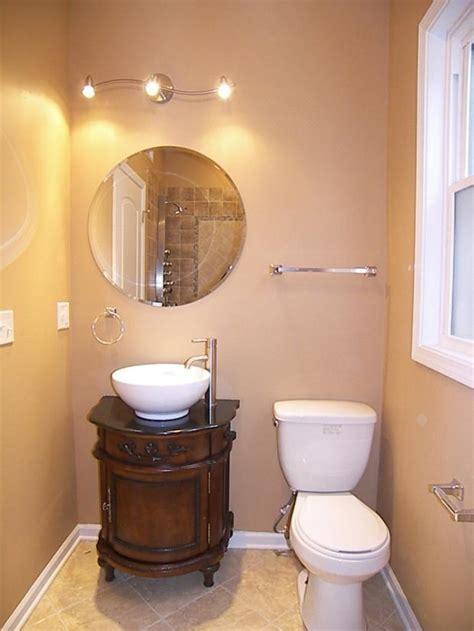 traditional powder room  palos hills tan tile shower