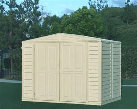 vinyl shed reviews duramax model 00111 duramate storage shed review
