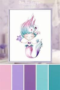 Mermaid Wall Art Kids Bathroom Decor Little Girls