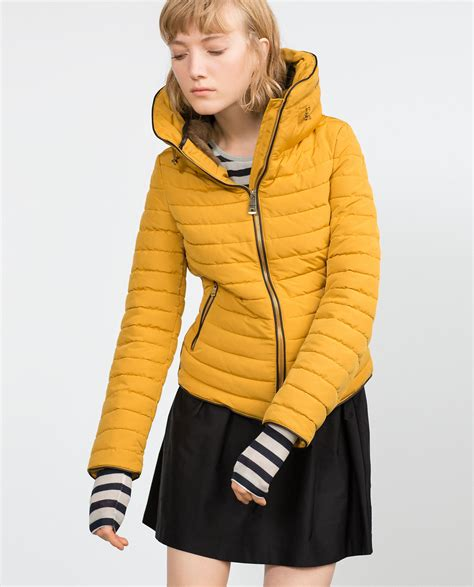 mango quilted black zara quilted coat with faux fur collar in yellow lyst