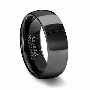 polished black tungsten wedding band mens black wedding ring With wedding rings black
