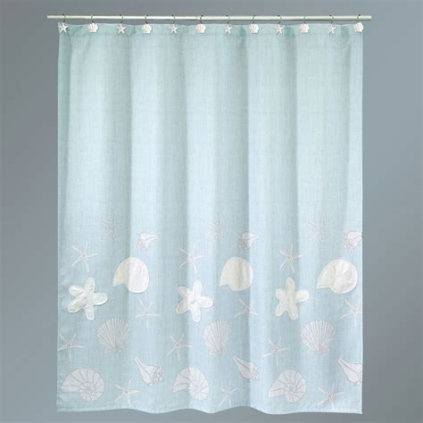 sequin shells pale aqua coastal shower curtain
