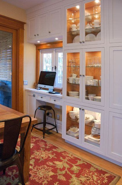 small desk space  tucked   wall  dining room