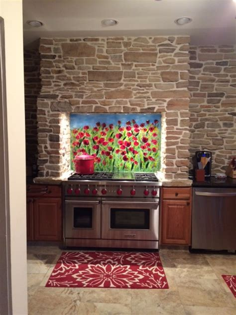 Red Poppy Kitchen Backsplash   Designer Glass Mosaics