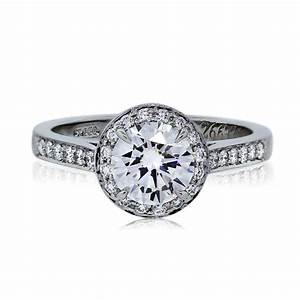 tiffany co platinum 101ct round brilliant halo With halo wedding rings