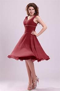dark red cute a line sleeveless chiffon knee length With robe de cocktail mauve