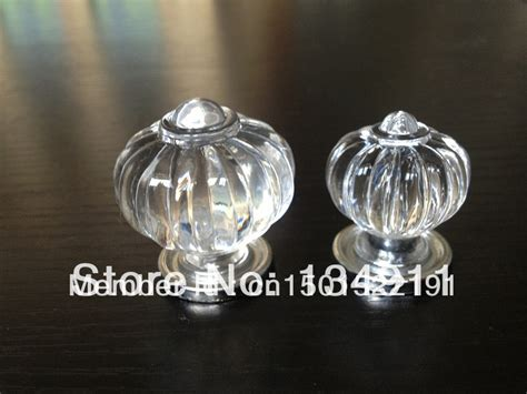 10pcs Acrylic Clear Pumpkin Crystal Round Drawer Knobs
