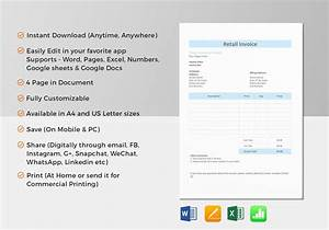 Retail invoice template in word excel apple pages numbers for Retail invoice template