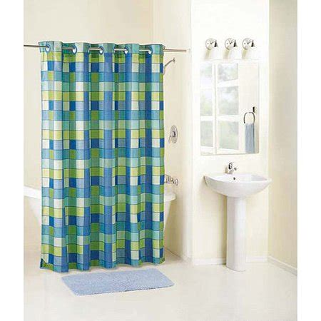 fabric shower curtains walmart mainstays checkmate fabric hookless curtain walmart