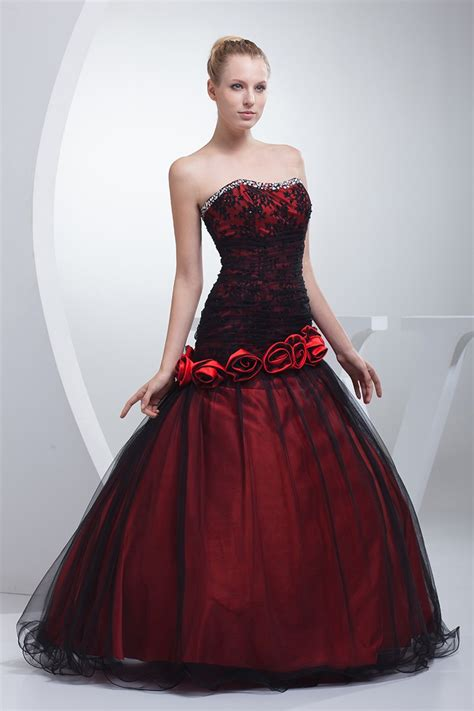gothic black  red floral ballgown tulle color wedding
