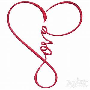 Love Heart Infinity Embroidery Design | Apex Embroidery ...