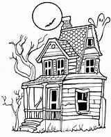 Coloring Spooky Moon Haunted sketch template