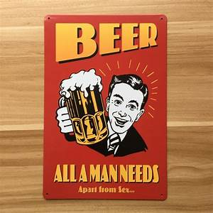 Free, Shippiingua, 0106, Canada, Day, 20x30cm, U0026quot, Beer, All, Man, Need, U0026quot, Vintage, Metal, Tin, Signs, Home, Decor