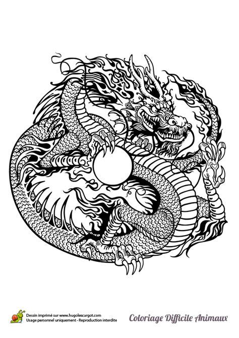 Dessin à colorier d'un dragon chinois - Hugolescargot.com