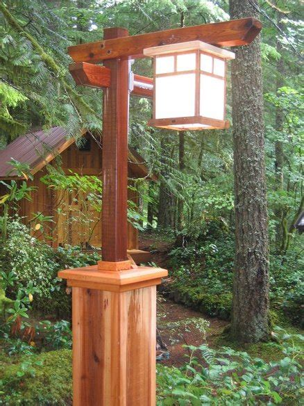 mission style l post lights craftsman l post with copper light by