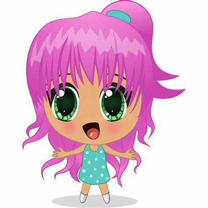 Manga Fille Cheveux Stickers Rose
