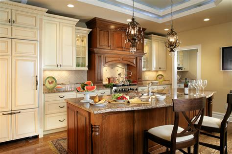 contrasting kitchen cabinets traditional kitchen with contrasting island and 2555