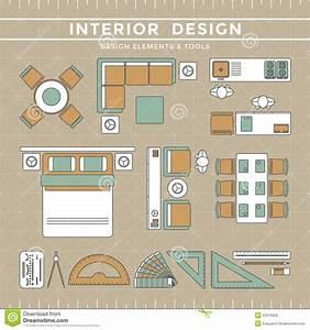 Interior Design Layout  U0026 Tools Stock Vector