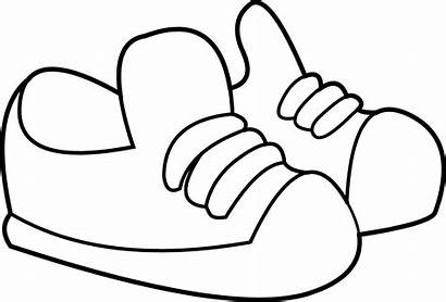 Coloring Clip Sneakers Shoes Line Clipart Graphics