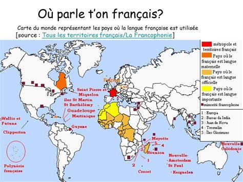 Carte Du Monde Francais by O 249 Parle T On Fran 231 Ais Carte Du Monde Repr 233 Sentant Les