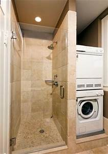 Stacked washer and dryer and small shower 2nd bathroom for Bathroom ideas with washer and dryer