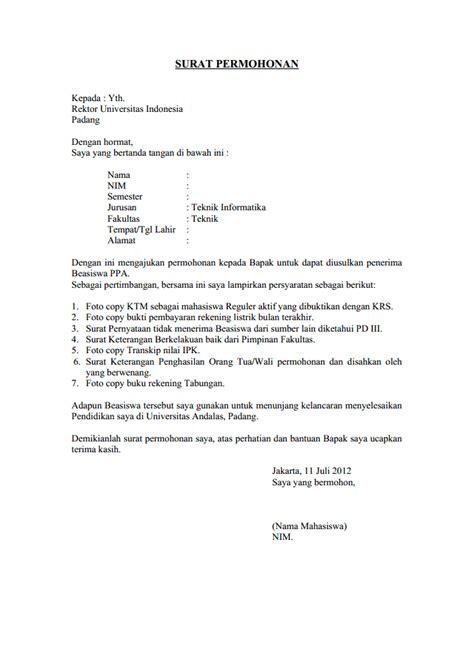 contoh surat permohonan bantuan  oktober