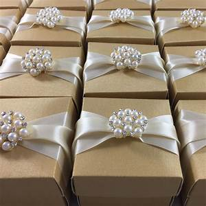Golden Wedding Favour Box With Cream Ribbon Featuring