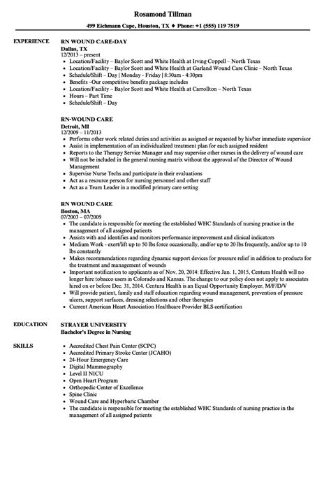 Wound Care Resume Sle by Rn Wound Care Resume Sles Velvet