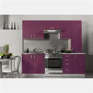 cuisine 233 quip 233 e de 2m20 oxane aubergine violet laqu 233 pas cher en kit