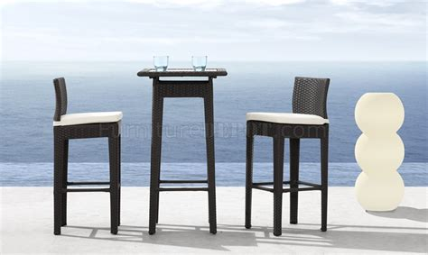 black weave modern 3pc outdoor bar set w clear glass top table