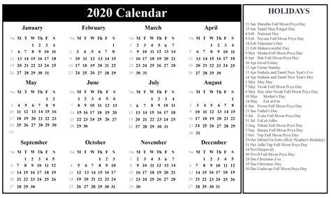sri lanka calendar excel word format
