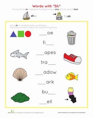 words with quot sh quot worksheet education