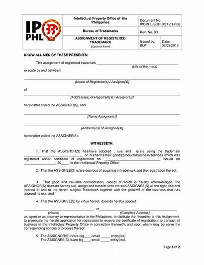 Trademark Assignment Form Forms Registered Pdf Word
