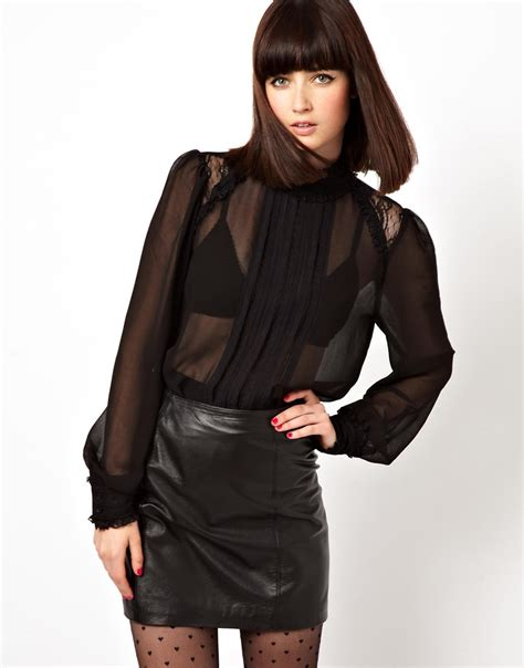 high neck blouse asos blouse with high neck and insert lace ruffle in black