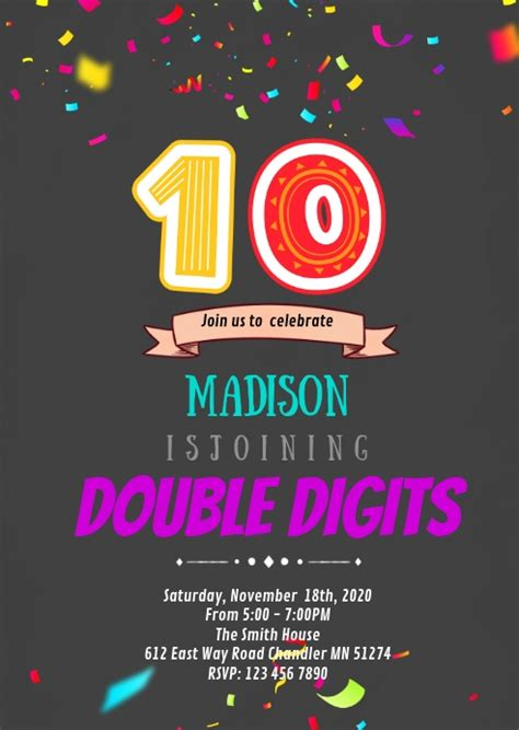 Double digits 10th birthday party invitation Template